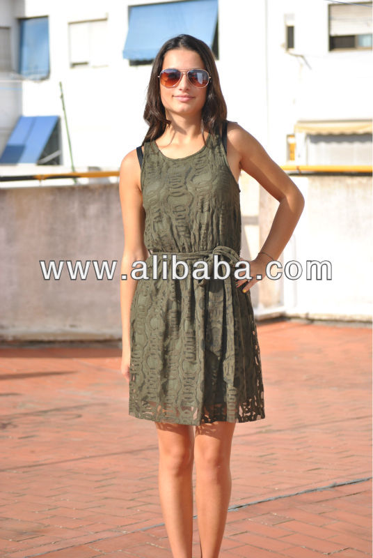 Olive Color Casual Evening Cocktail Dress