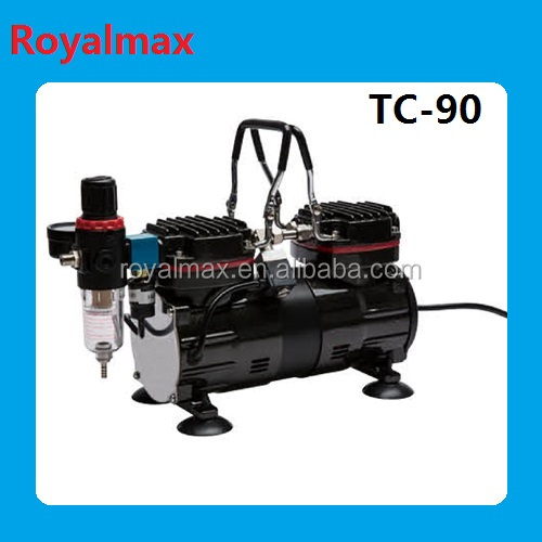Royalmax Air pump,mini double cylinder airbrush compressor TC-90 for painting,tattoo,makeup and scientific research.Medical tool