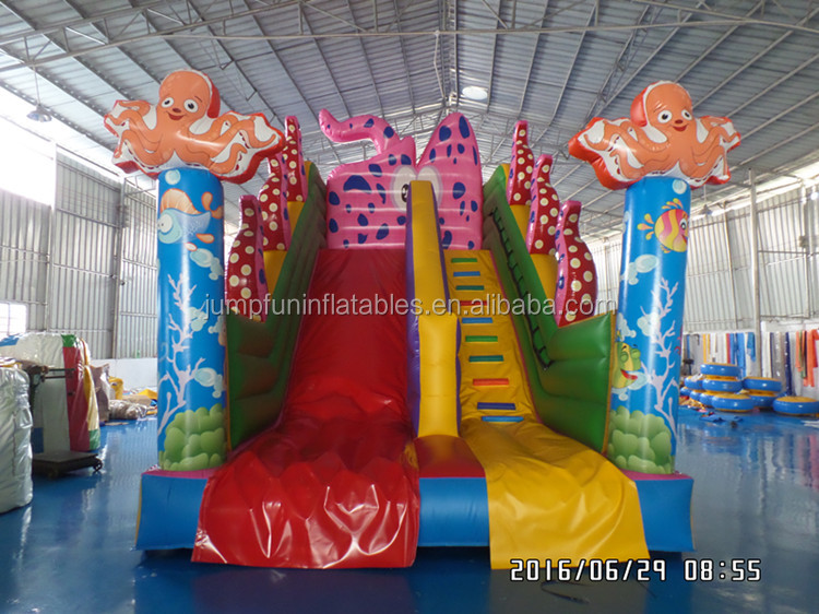 most beauty inflatable dry slide nice printing octopus air slides