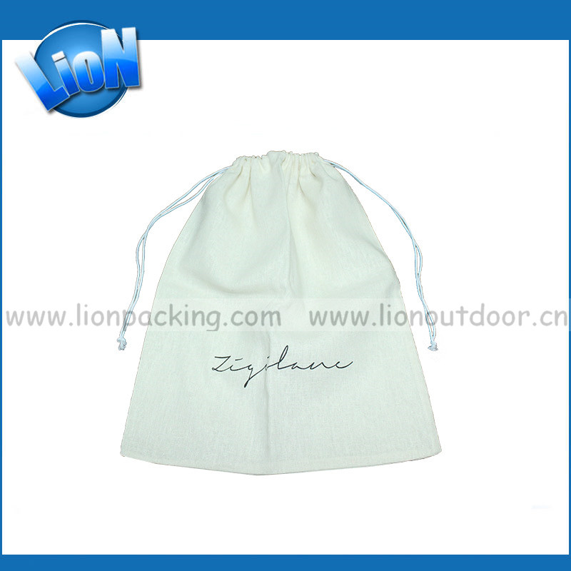 Factory advertising customized Logo fancy mini Eco Linen drawstring Tote pouch Bag jewelry bag