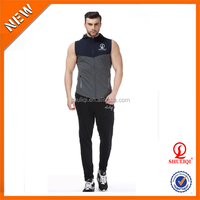 custom 100 cotton summer sleeveless mens tracksuit / winter jogging & sport tracksuit