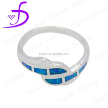New Arrival Vogue synthetic sterling silver blue opal ring jewelry