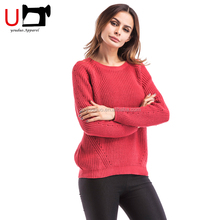 2018 Fashion Korean Design New Knitwear Red White Ladies Casual Latest Fancy New Style Sweater