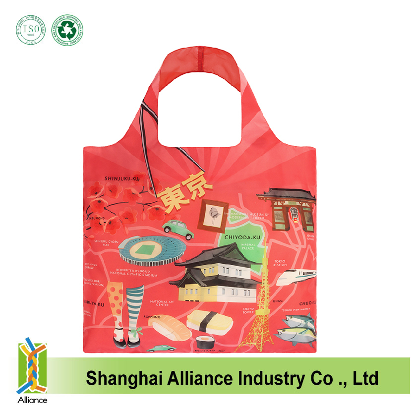 Full color gas sublimation printing 190T Polyester fashion shopping tote bags/Fashion shoulder tote folding bags with pocket