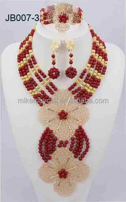 Nigerian Wedding African Beads Jewelry Sets Gold Mix Wine African Bridal Crystal Beads Jewelry Sets