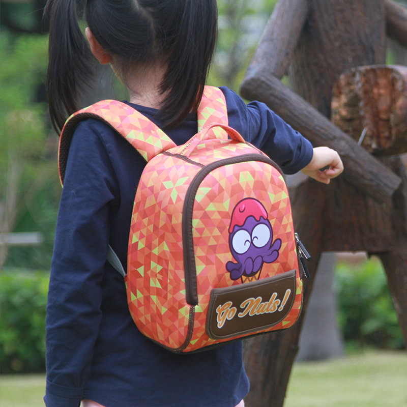 Cartoon Animal Children School Bags Neoprene Go nuts series green bagpack backpack