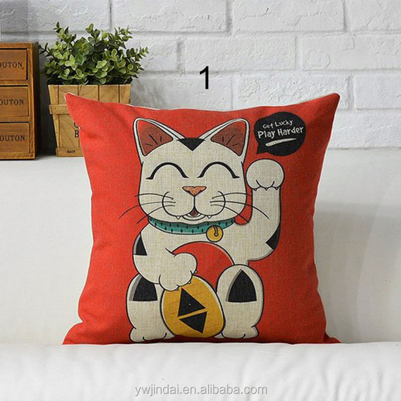 New Design Pillowslip Lucky cats Japanese Anime Linen Cotton Pet Dog 17.1' X 17.1' Square Sofa Car Handmade cushion