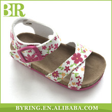 2017 new design cork flat girls sandals