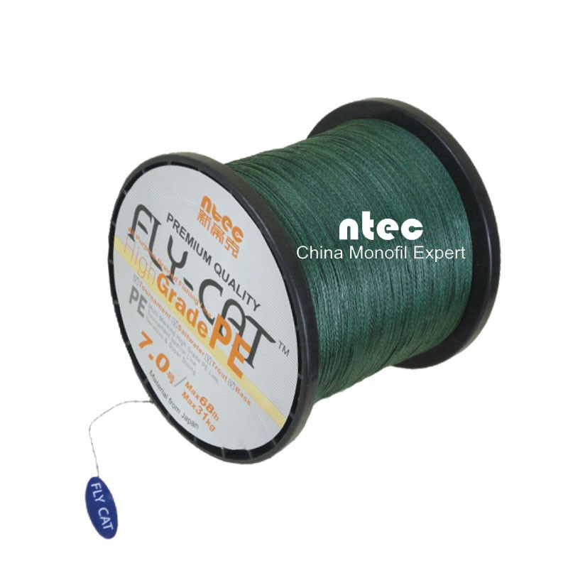 20LB 100M dark green color PE braided fishing line