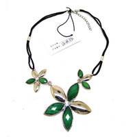 3 green acrylic diamond flower pendant choker leather necklace