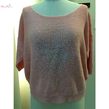 Latest designs lady women orange pink knitted pullover sweater with studs