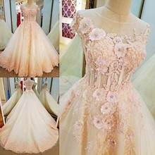 LS53209 Light pink short sleeve lace flower raw material sharara muslim wedding gown
