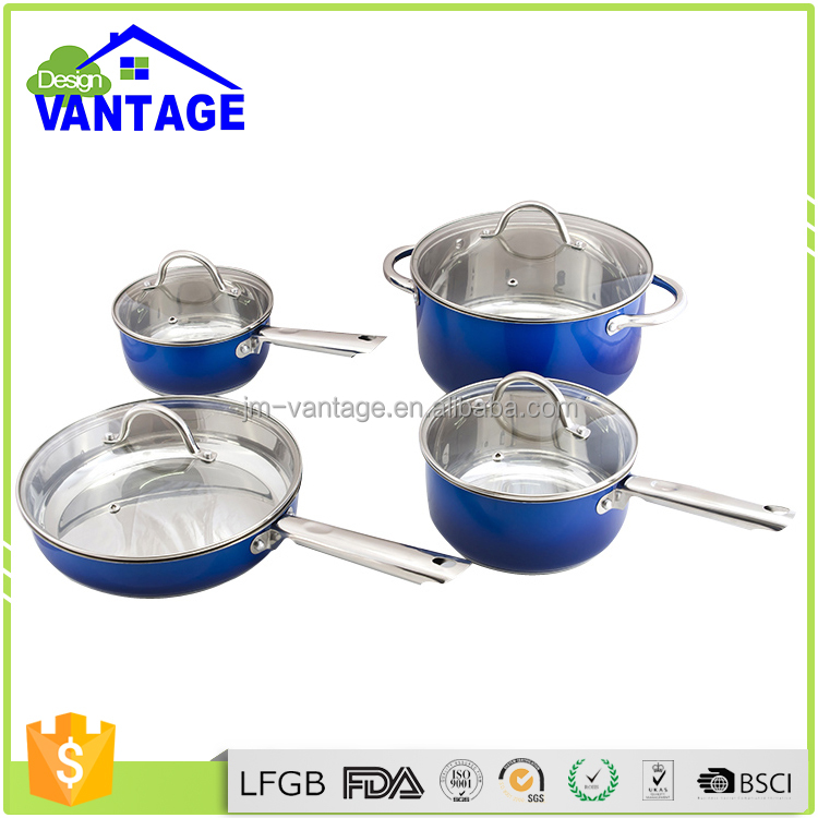 7pcs eco-friendly feature elegant flower sapphire cookware set /cooking pot /fry pan with non stick CE/EU certification