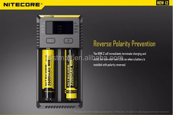2016 hot New Nitecore I2 18650 battery charger for 16340/18650/14500/26650 Battery E Cigarette /New and Original Nitecore i2