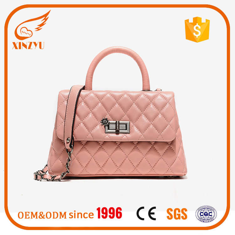 Soft Pink Plaid lambskin crossbody women genuine leather handbag