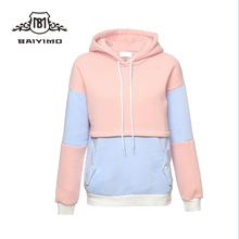 Wholesale Sportswear Split Joint Bright Colored Blank Velour Pullover Hoodie Ladies