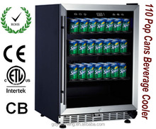110 Pop cans (330ml/can) Beverage Cooler no noise and no vibration with three wire shelves