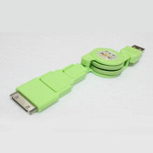 green color Length 75CM ABS retractable 3 in 1 usb cable For iPhone5/5S/5C/6 iPhone4s iPad 2/3/4/5 HTC Samsung all of Micro USB
