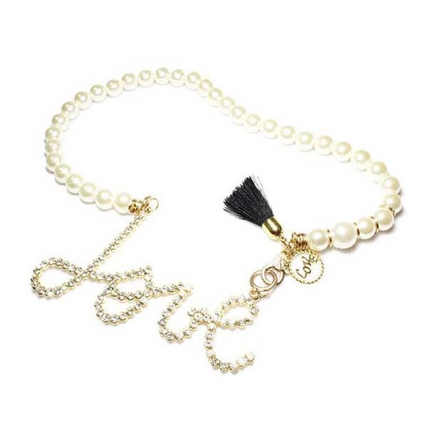 Delicate pearl beaded chain meaning eternal love couples pendants necklace