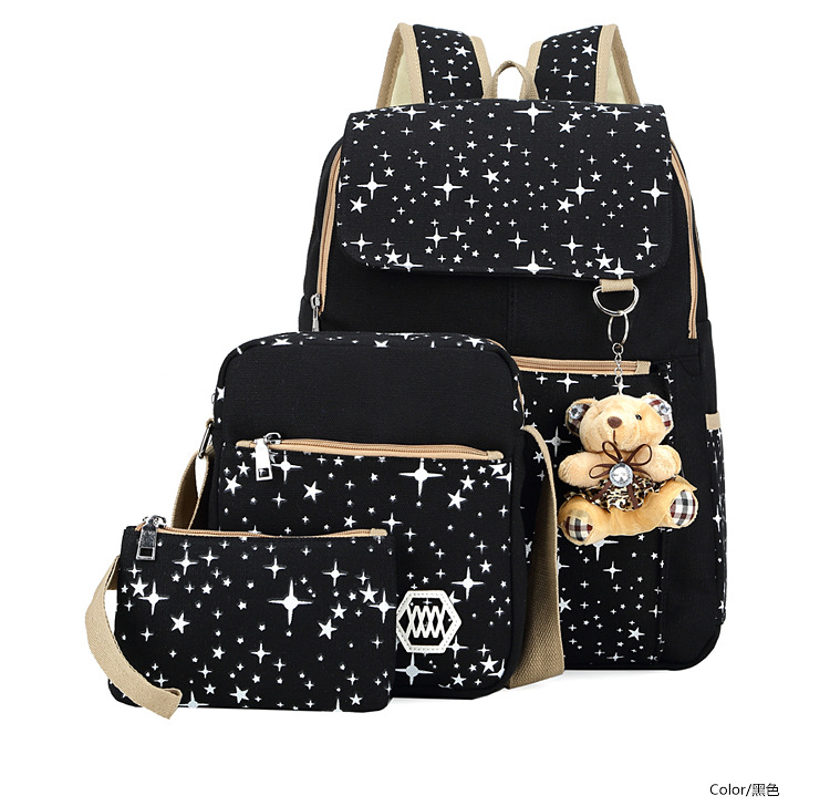 Fashion canvas women backpack set 3 pcs in one backpack,purse