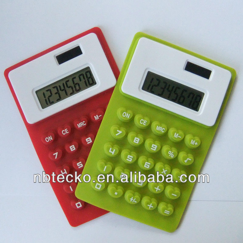High quality 8 digit solar powered folding silicone calculator