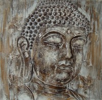 Wholesale Wall Art Handpainted Buddha Wooden Oil Painting