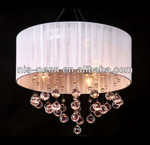 23year factory- Modern cheap white fabric optic pendant lamp with crystal beads (NS-120166)