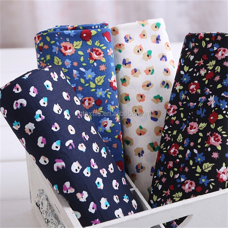 stocklot cotton woven fabric Printed flowers 100% Cotton Fabric poplin for child garment dress 105gsm