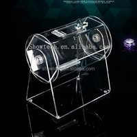 Factory donation box with brochure holder nail polish acrylic rotating shot glass display stand