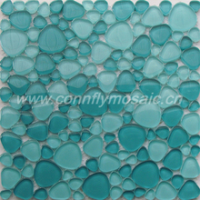 Blue oval pebble swimming pool glass mosaic tile(CFC585)