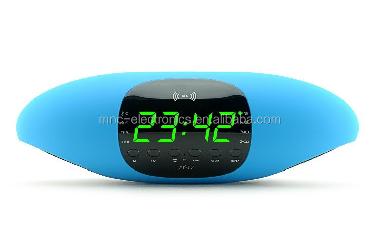 Latest model touch control flash led light portable NFC pill shape bluetooth speaker with alarm clock