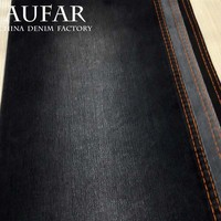 high quality black twill weave stretch cotton denim fabric