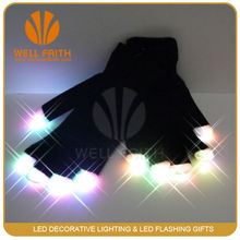 Party favor flashing gloves with multicolor,LED lighted up finger gloves for dancing show,magical LED glowing gloves