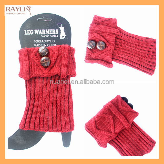 Brand New Fashion Winter cable knit women boot cuffs with buttons