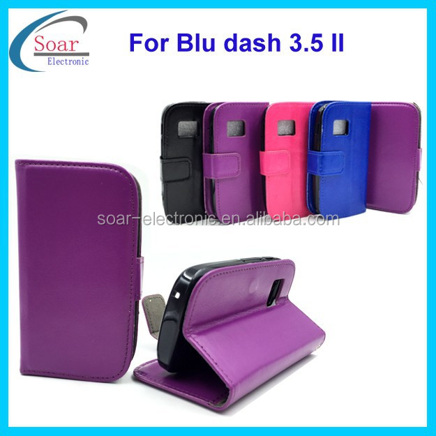 China wholesale crazy horse leather flip cover case for Blu dash 3.5 II, pouch case for Blu dash 3.5 II