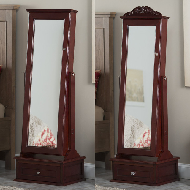 Cherry Jewelry Armoire Cheval Mirror Jewelry armoire and full-length tilting mirror combined