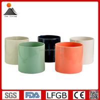 Round ceramic flower pots, ceramic planter pots with fabric pattern