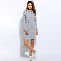 Warm Winter High Quality Hooded Dresses Pocket Long Sleeved Casual Mini Dress Sport wear XXl Women Clothings