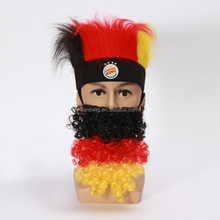 Germany flag Color football fans fake mustache, false beard, stripe moustaches