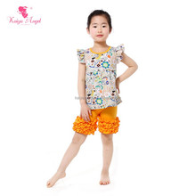 yellow floral shirts and shorts summer outfits baby girl matching clothing