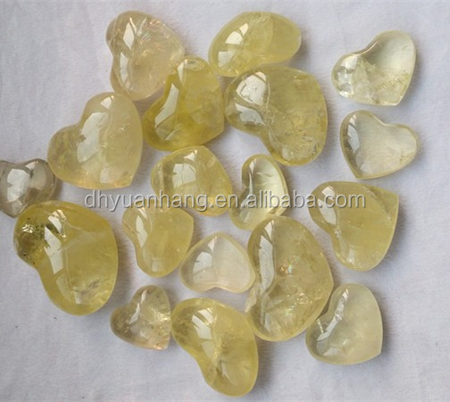 Exquisite natural citrine quartz crystal hearts for pendants,citrine crystal hearts wedding favors