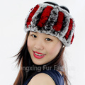 CX-E-37P Women Fashion Knitted Real Rex Rabbit Fur Neck Warmer Elastic Hair Headband