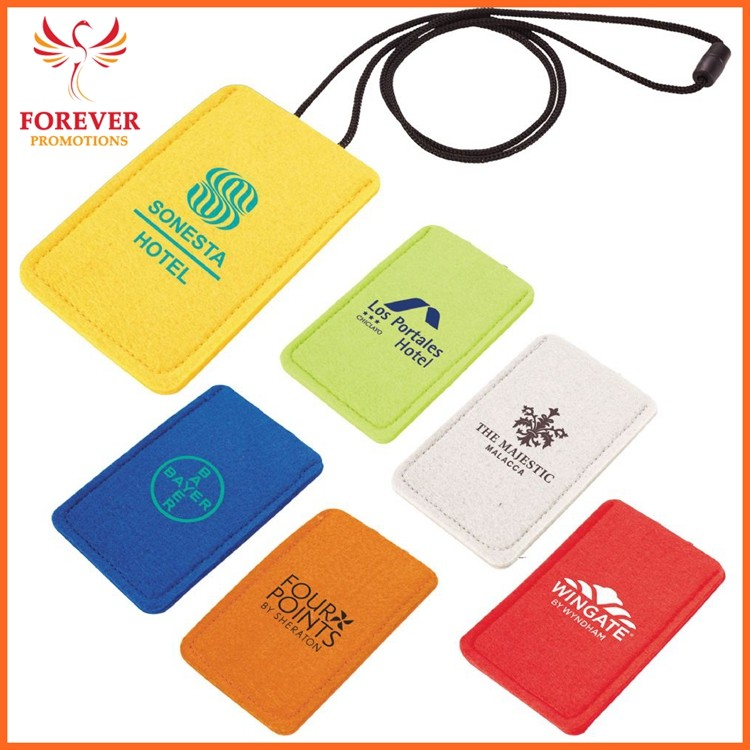 Wholesale Card Holder Felt Custom Hotel Card Sleeve Cheap Personalized Card Holder With Neck Lanyard