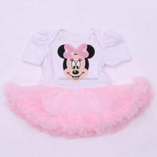 wholesale white and pink short sleeve summer baby tutu romper
