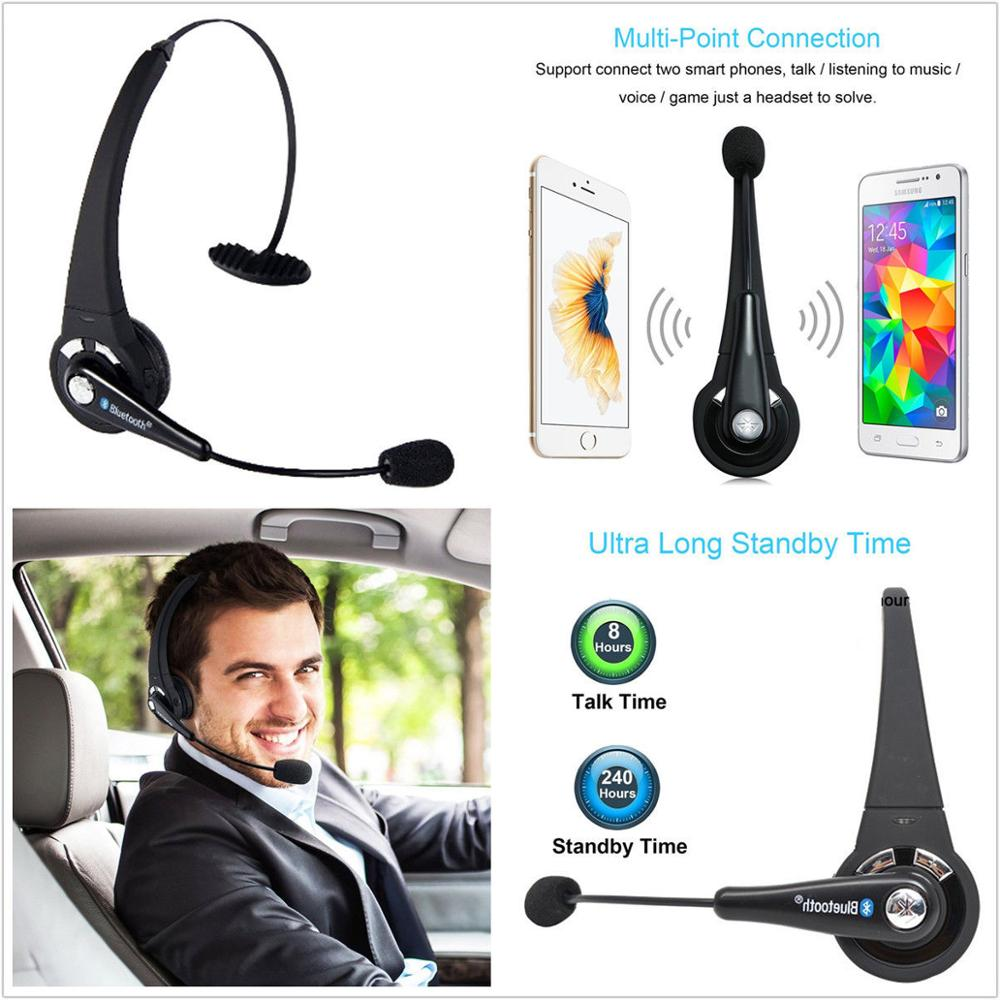 Wireless Car Truck Driver Bluetooth Noise Canceling Headset Headphones with Mic