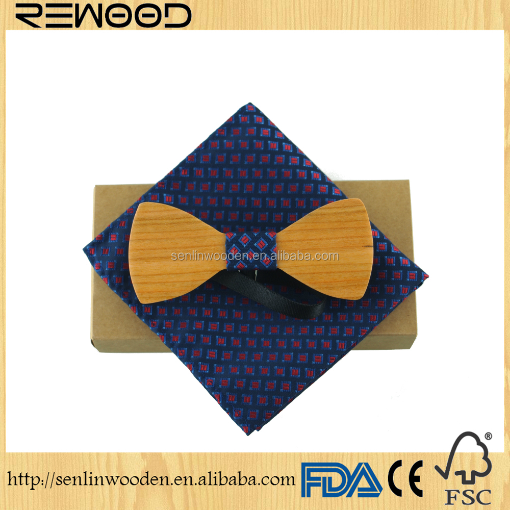 2017 New Fashion Best Gift Set Creative 3d Handmade Butterfly Wood Bow Tie