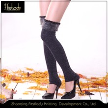 Fashion young girl tube trample feet warm knee high stocking for winter