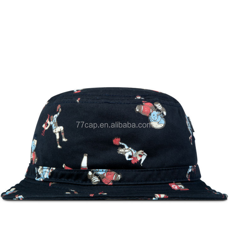 High Quality Cotton Stylish Custom Printed Blue Kids Bucket Hats Wholesales