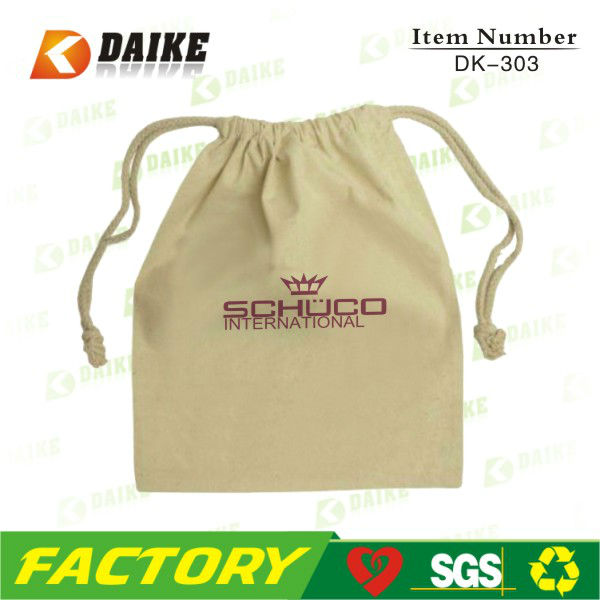 Eco-friendly Cotton Embroidered Drawstring Bags Factory OEM
