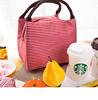 Casual Portable Lunch Bag Striped Insulated Cooler Bag Lady Food Picnic Tote Bag